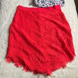Free People Red Lace Skirt